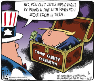 Political Cartoon U.S. Trump Charity Foundation