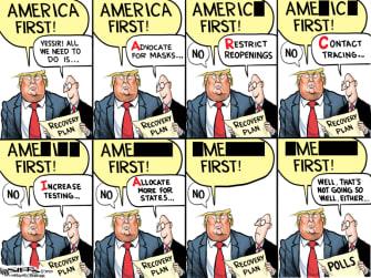 Political Cartoon U.S. Trump America first COVID