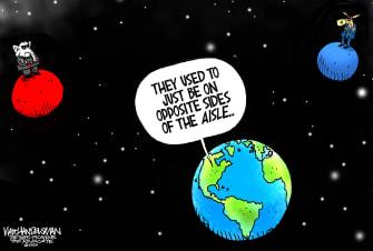 Political Cartoon U.S. Republican Democrat divide