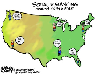 Editorial Cartoon U.S. COVID-19 CDC testing social distancing underprepared