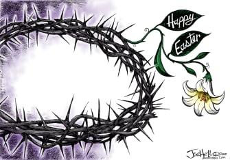 Editorial Cartoon U.S. Happy Easter sacrifice Christ coronavirus