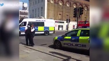Police investigate a security threat at London'd Old Vic theater