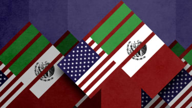 Mexican and American flags.