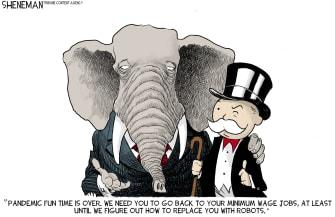Political Cartoon U.S. gop covid benefits