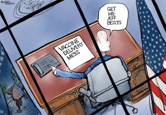 Political cartoon U.S. Biden bezos amazon covid vaccine