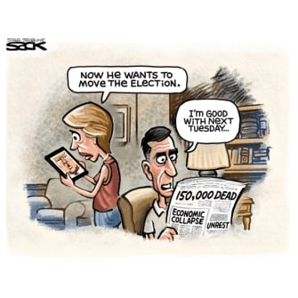 Political Cartoon U.S. Trump election move coronavirus