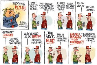 Political Cartoon U.S. Trump supporter MAGA