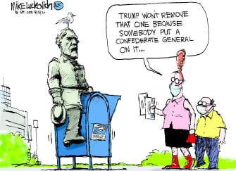 Political Cartoon U.S. Trump USPS vote by mail 2020