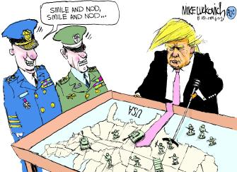Political Cartoon U.S. Trump army protesters