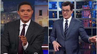 Trevor Noah and Stephen Colbert say goodbye to Bill OReilly