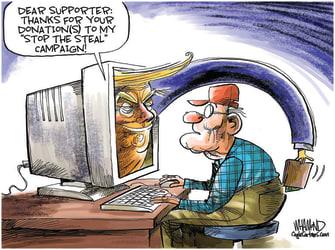 Political Cartoon U.S. trump donations