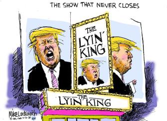 Political Cartoon U.S. Trump The Lion King Broadway lying king theater