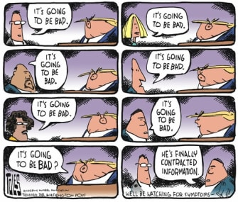Political Cartoon U.S. Trump contracts information bad news