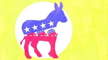 Democratic and Republican logos.