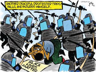 Editorial Cartoon U.S. blm protester police brutality