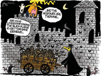 Political Cartoon U.S. Trump morgues thriving coronavirus black plague 2020