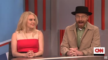 Kellyanne Conway (Kate McKinnon) and future head of the DEA, Walter White (Bryan Cranston) on SNL