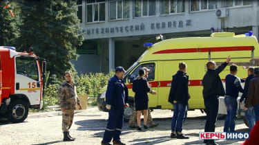The scene outside the Kerch Polytechnic College on Wednesday.