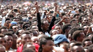 Ethiopians at a political rally.