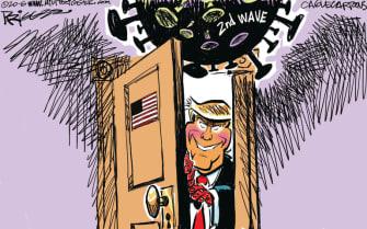 Political Cartoon U.S. Trump coronavirus second wave reopening