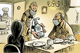 Editorial Cartoon World restaurant reopening coronavirus hand sanitizer wine