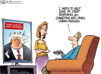 Political Cartoon U.S. Trump briefings stop physical interactions TV