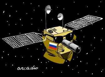 Editorial Cartoon U.S. Russia satellite spying USA security