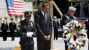 President Obama attends a 9/11 ceremony in New York City Thursday: Despite the gruesome circumstances of his killing, some say its OK to joke about bin Laden.