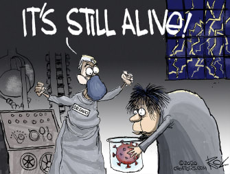 Editorial Cartoon U.S. Fauci COVID Frankenstein