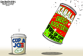 Political Cartoon U.S. Kamala Harris Joe Biden Vice President Democratic Ticket Boost