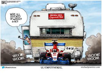 Political Cartoon U.S. biden economy