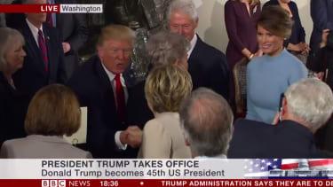 Donald Trump thanks Hillary Clinton.