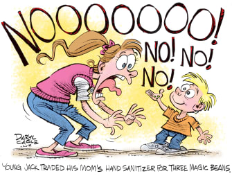Editorial Cartoon U.S. Jack and the Beanstalk hand sanitizer
