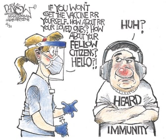 Editorial Cartoon U.S. covid vaccines deniers