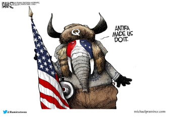 Political Cartoon U.S. GOP Capitol Riot antifa