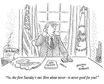 Political Cartoon U.S. Trump New Yorker election delay tweet