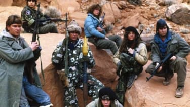 """Would Patrick Swayze (shown here taking on Soviet invaders in 1984's """"Red Dawn"""") have been as motivated if the villains were North Koreans?"""