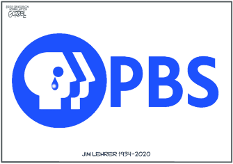 Editorial Cartoon U.S. Jim Lehrer PBS anchor journalism death