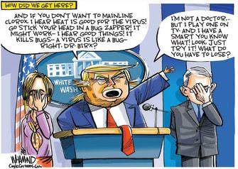 Political Cartoon U.S. Trump disinfectant press briefing coronavirus
