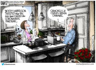 Editorial Cartoon U.S. Woody Harrelson 5G hoax causes stupidity