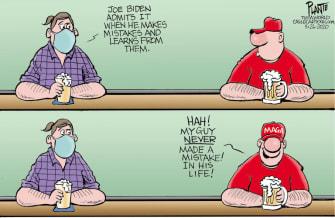 Political Cartoon U.S. Trump Biden 2020 supporters election