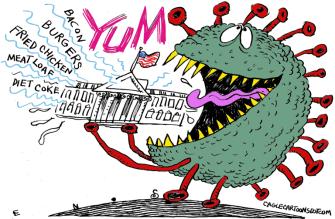 Political Cartoon U.S. White House Trump coronavirus
