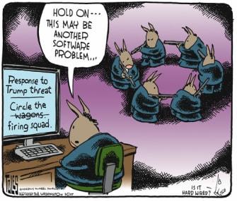 Political Cartoon U.S. Dems firing squad Trump
