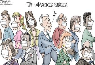 Editorial Cartoon U.S. Mike Pence no mask mayo clinic coronavirus