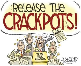 Political Cartoon U.S. Trump campaign lawsuits