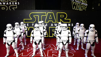 Stormtroopers arrive at the European premiere of The Force Awakens.