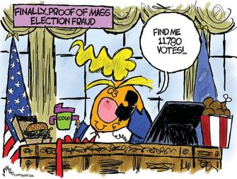 Political Cartoon U.S. Trump Georgia election fraud call