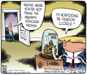 Political Cartoon U.S. Trump Pence HHS Coronavirus stock market down