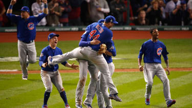 The Chicago Cubs celebrate winning the World Series.