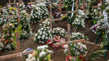 The graves of Sri Lankan bombing victims.